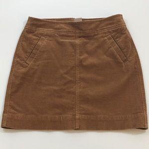 LOFT Skirt, Brown Corduroy, 6 petite
